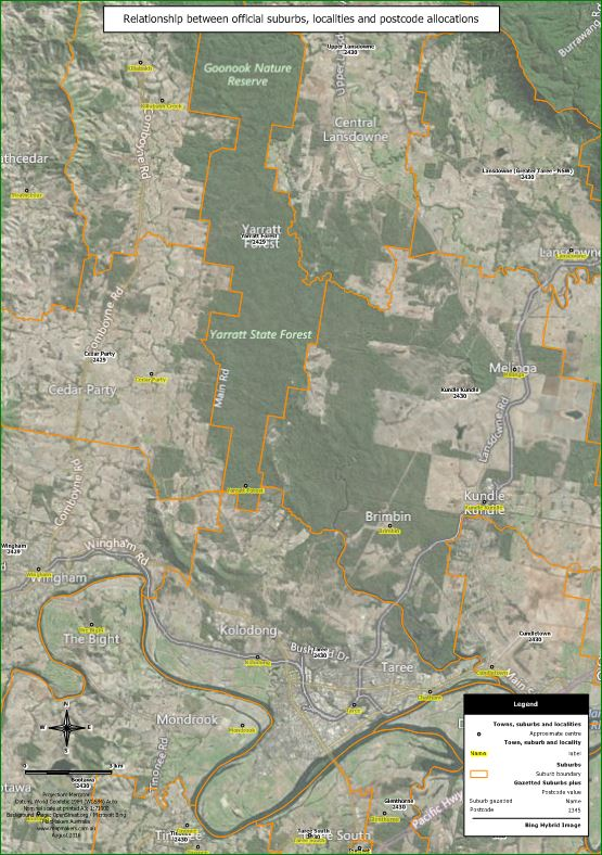 Relationship between suburbs and localities