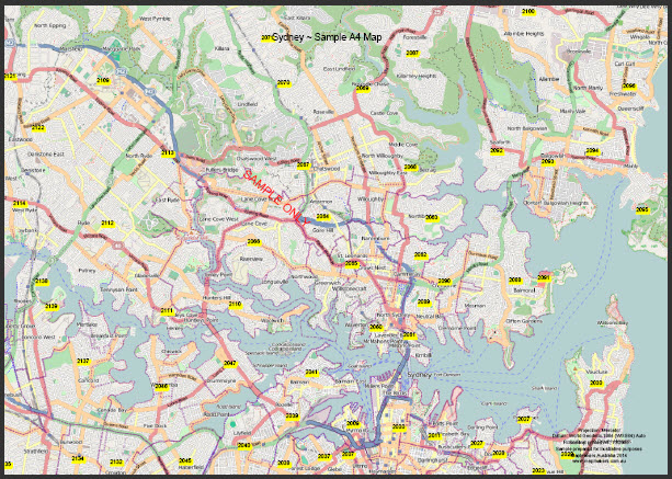 sydney sample map a4 page